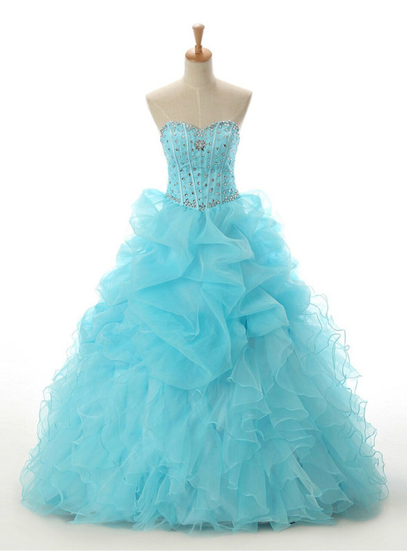Blue Organza Sweetheart Beading Crystal Quinceanera Dress