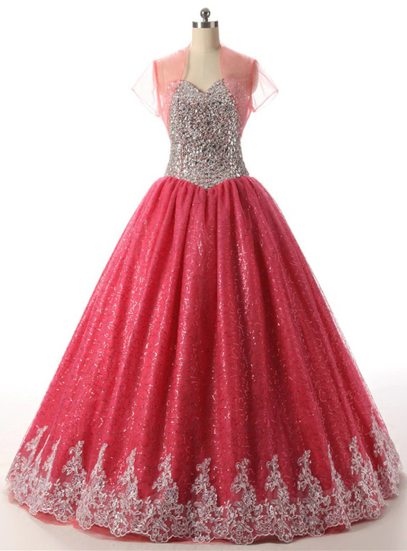 Red Ball Gown Tulle Sequins Crystal Quinceanera Dress