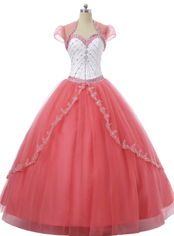 Red Tulle Sweetheart Appliques Beading Quinceanera Dress