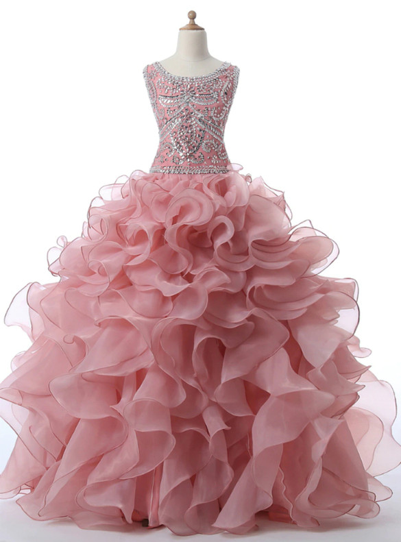 Pink Organza Beading Crystal Quinceanera Dress