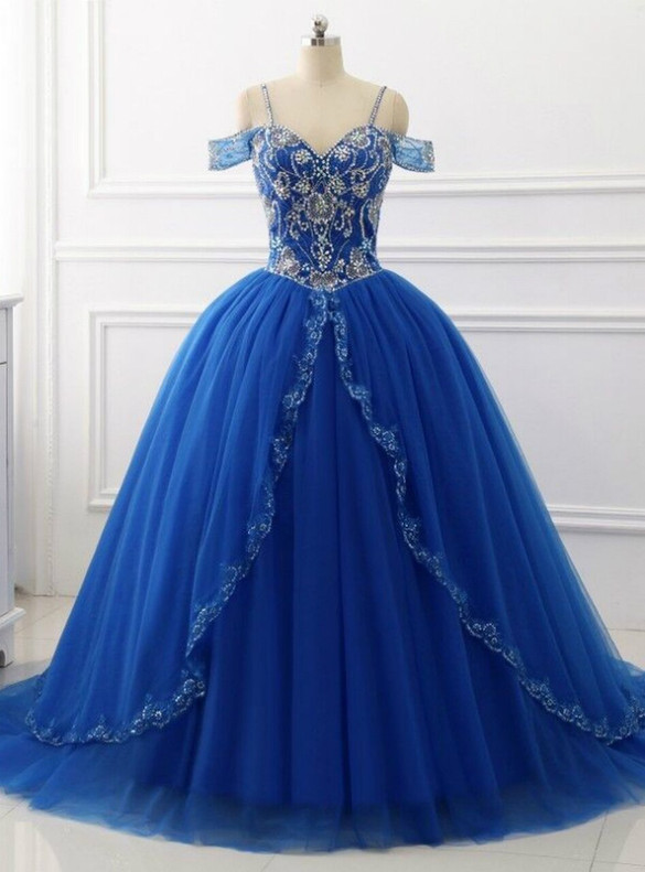 Royal Blue Tulle Spaghetti Straps Crystal Quinceanera Dress