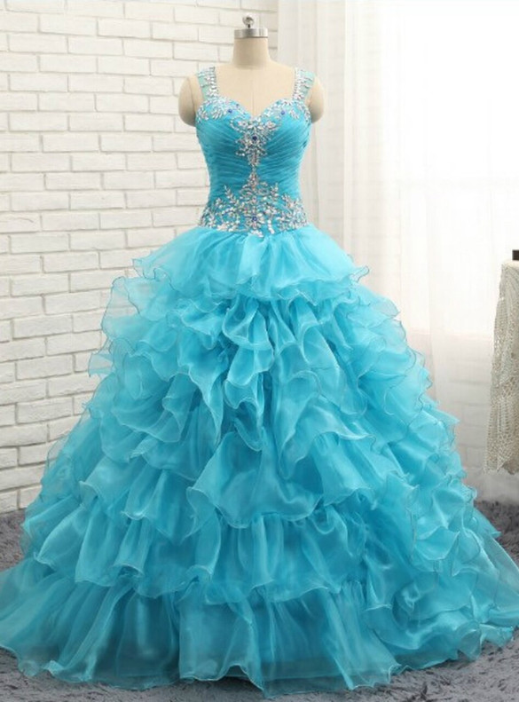 Blue Organza Pleats Beading Quinceanera Dress