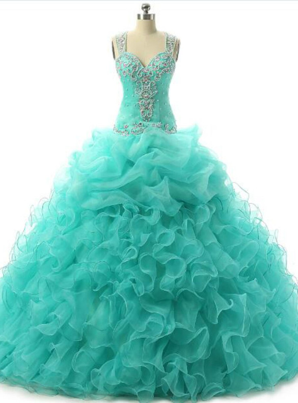 Green Organza Straps Beading Quinceanera Dress