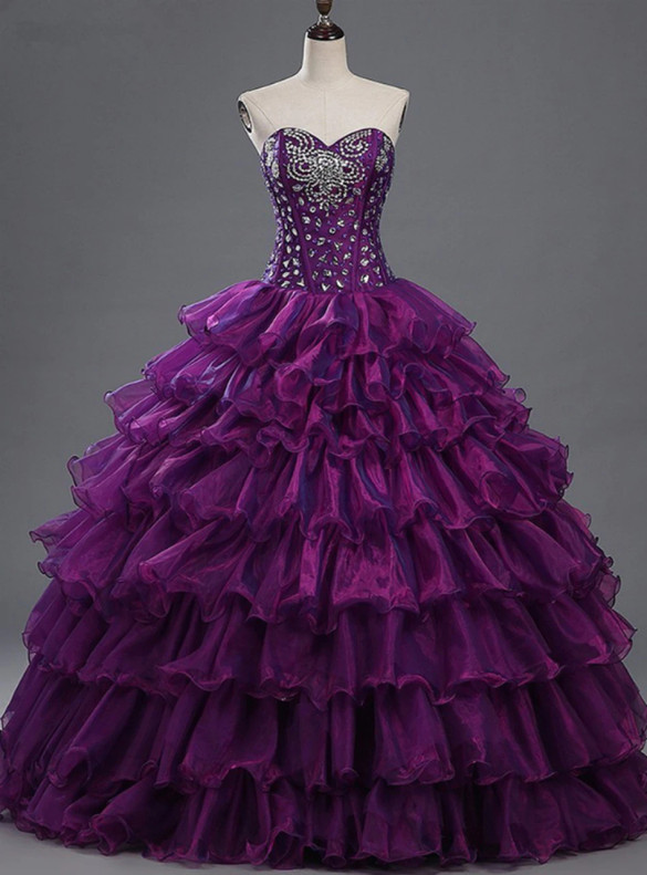 Purple Organza Sweetheart Beading Crystal Quinceanera Dress