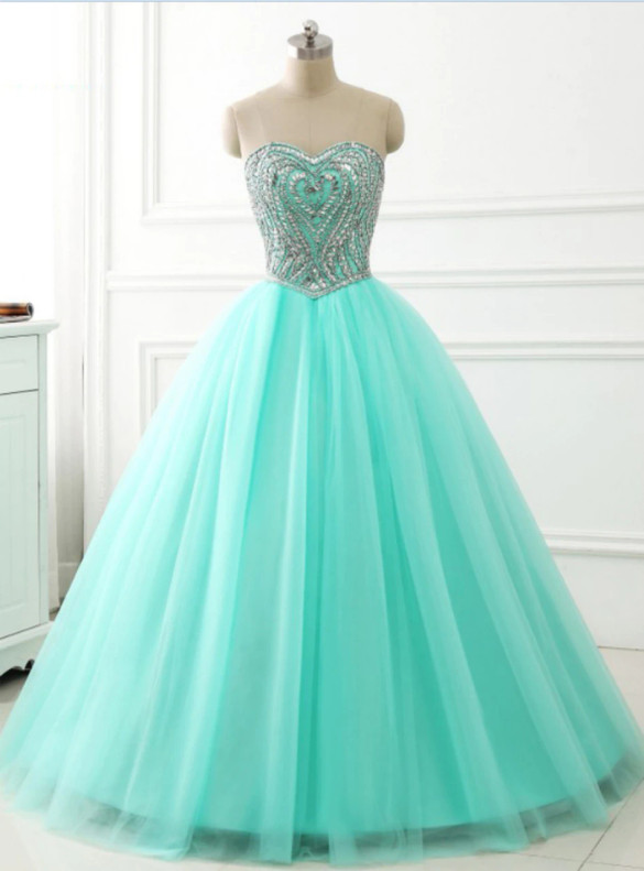 Green Tulle Strapless Beading Crystal Sweet 16 Dress