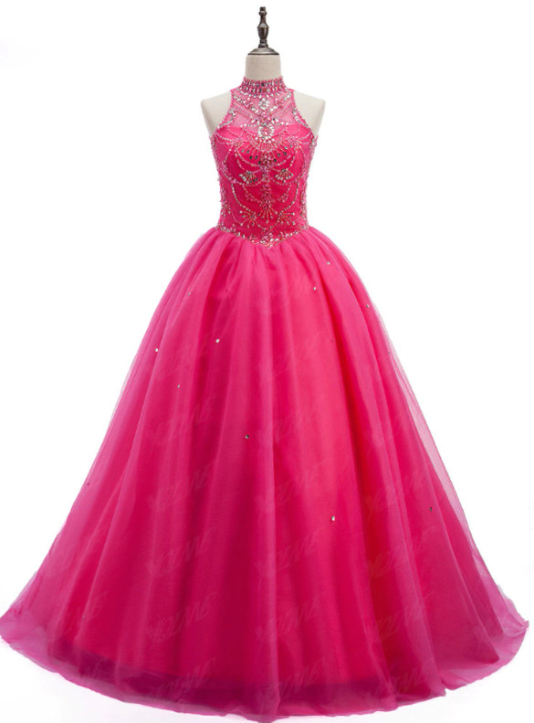 Fuchsia Tulle Backless Beading Crystal Quinceanera Dress