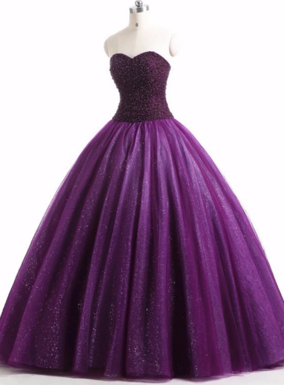 Purple Tulle Strapless Beading Pearls Quinceanera Dress