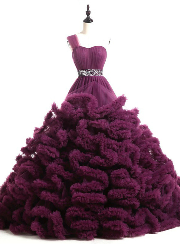 Dark Purple Tulle One Shoulder Pleats Beading Sweet 16 Dress