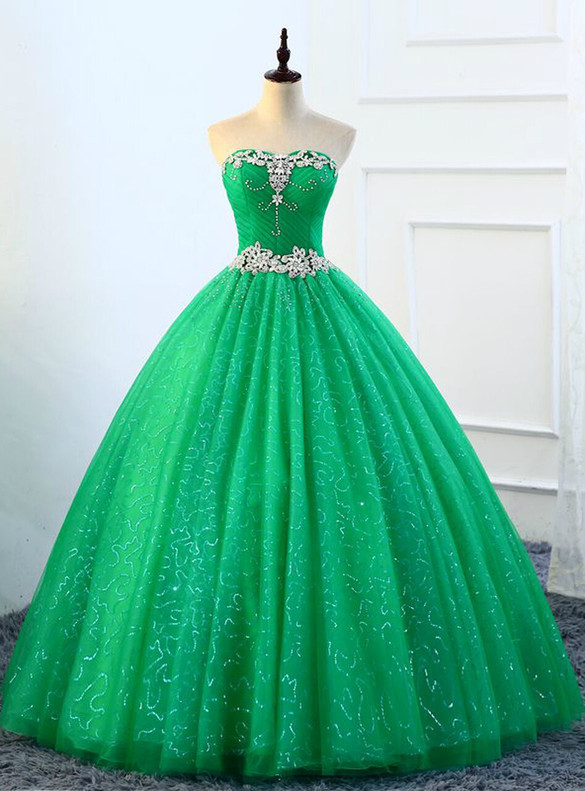 Green Tulle Strapless Crystal Pleats Quinceanera Dress