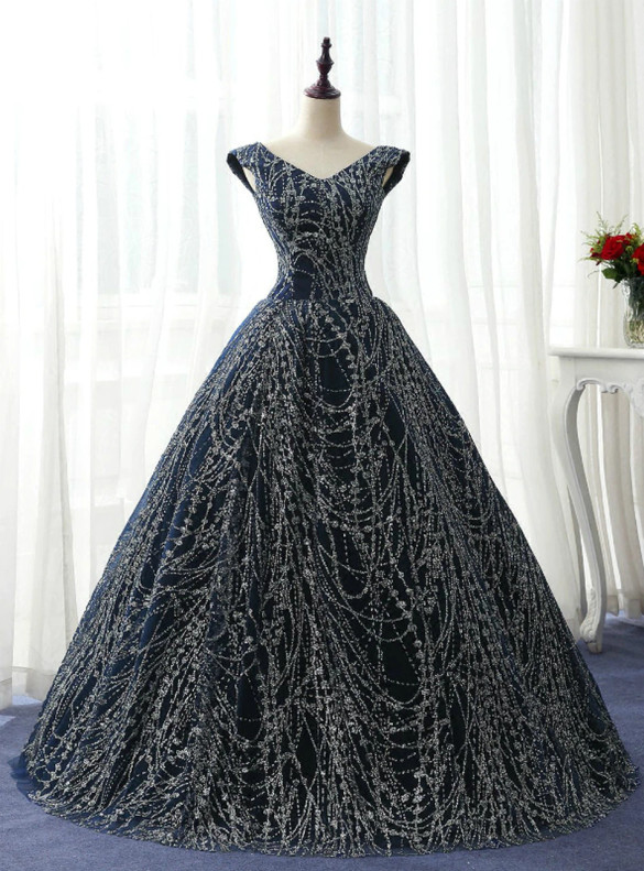 Navy Blue Sequins V-neck Quinceanera Dress