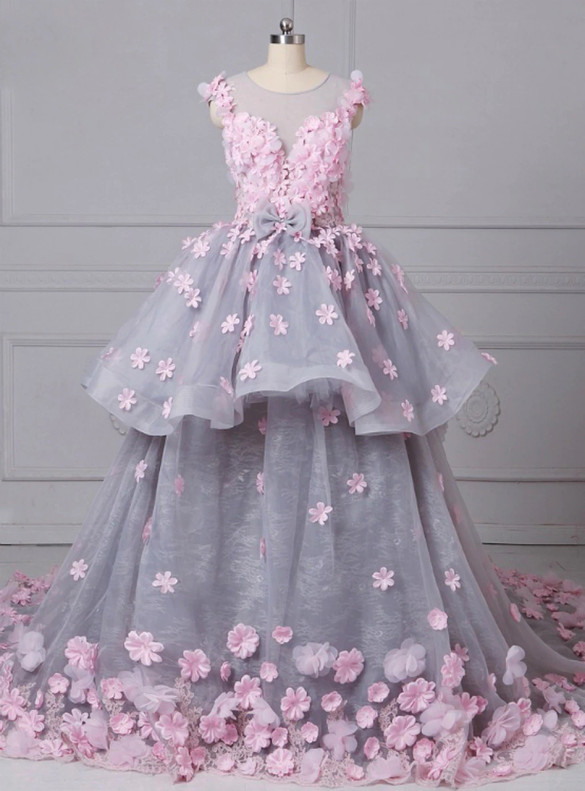Grya Tulle 3D Pink Appliques Quinceanera Dress