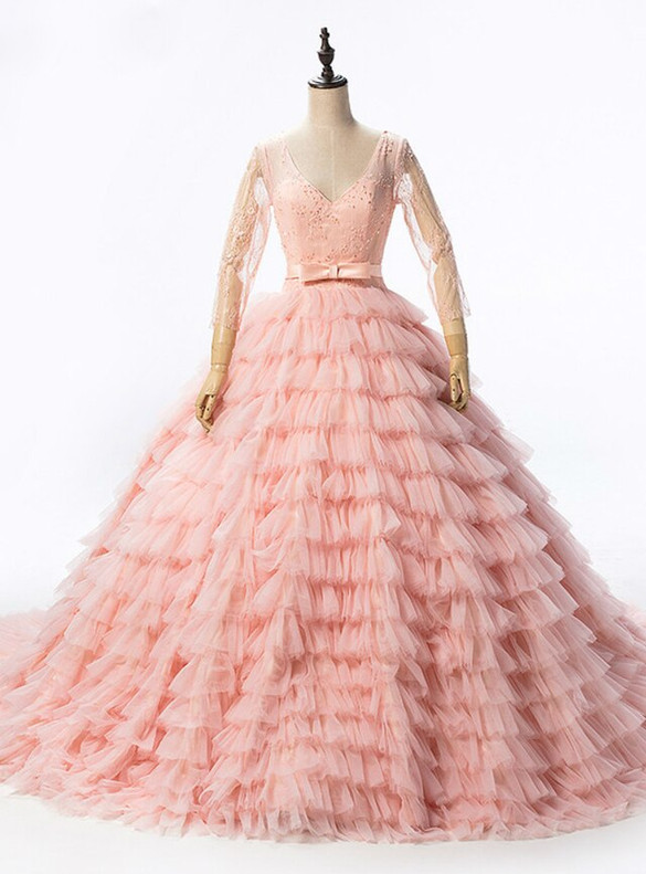 Pink Ball Gown Tiers V-neck Long Sleeve Beading Quinceanera Dress