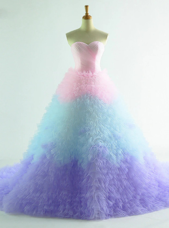 Colorful Tulle Sweetheart Pleats Quinceanera Dress