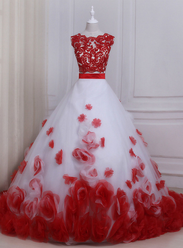 Two Piece Tulle Red Appliques Quinceanera Dress