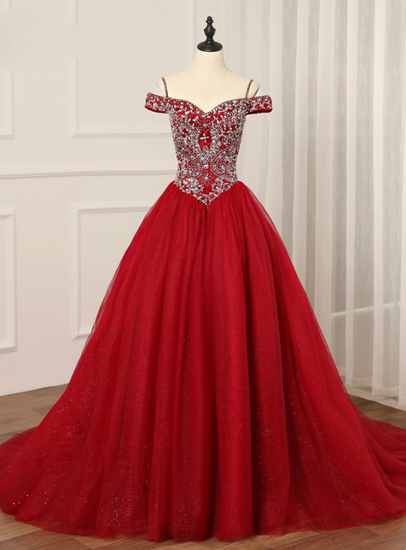 Red Tulle Spaghetti Straps Beading Quinceanera Dress