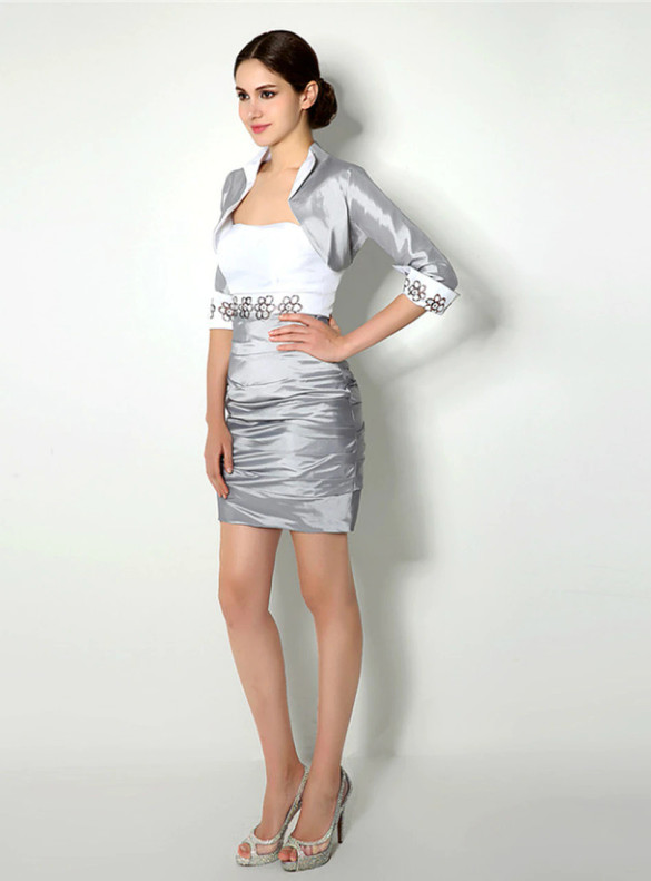 Gray Satin Pleats Strapless Mother Of The Bride Dress With Jacket