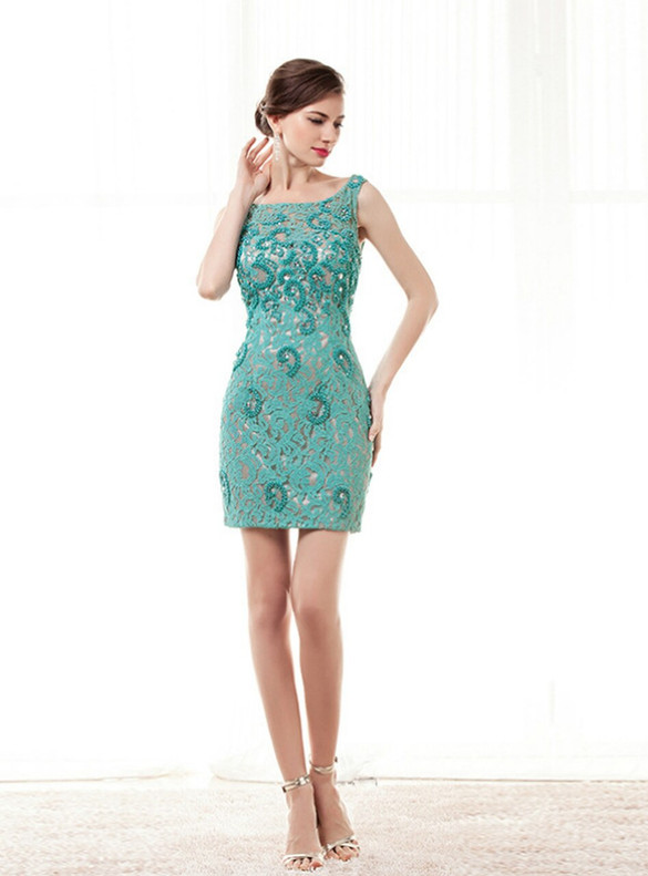 Green Sheath Lace Beading Short Mother Of The Bride Dress