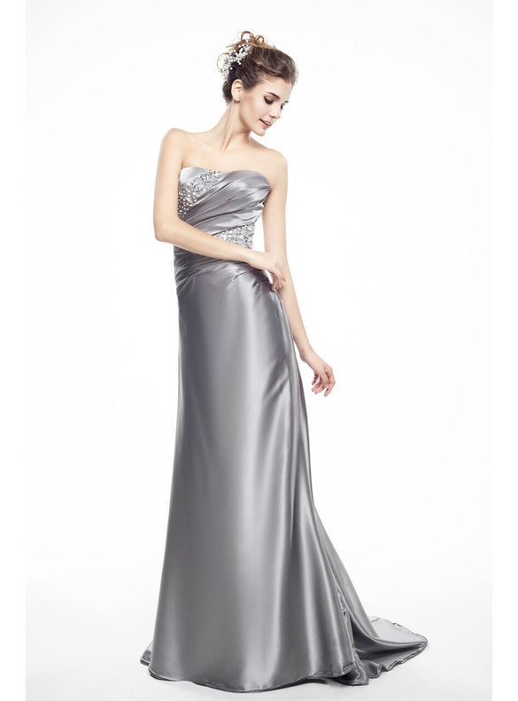 Silver Satin Strapless Pleats Beading Mother Of The Bride Dress
