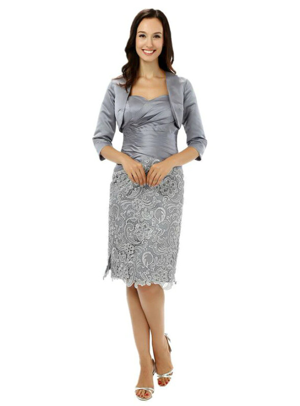 Silver Gray Satin Lace Mother Of The Bride Dress With Jacket
