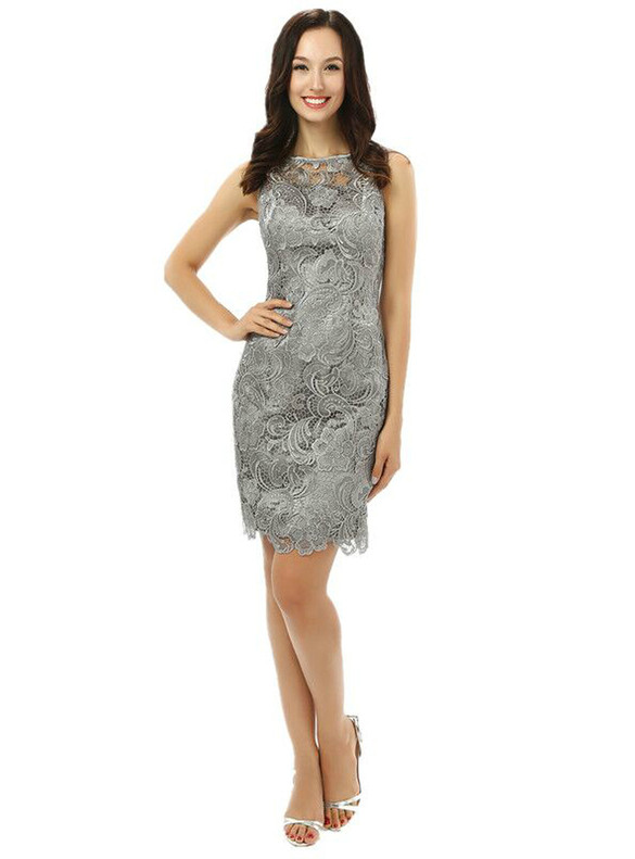 Gray Lace Knee Length Short Mother Of The Bride Dress