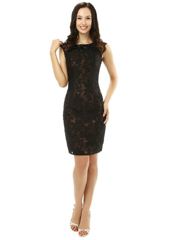 Black Sheath Lace Beading Mother Of The Bride Dress