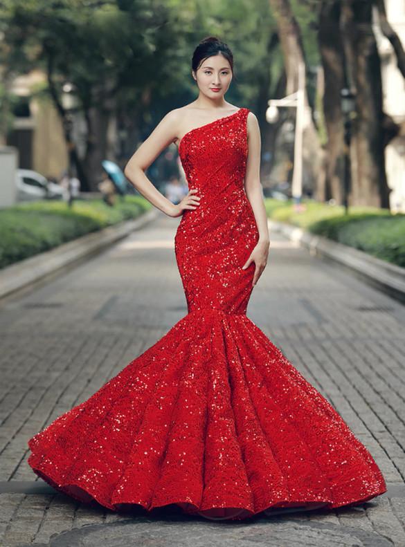Red Mermaid Sequins One Shoulder Prom Dress