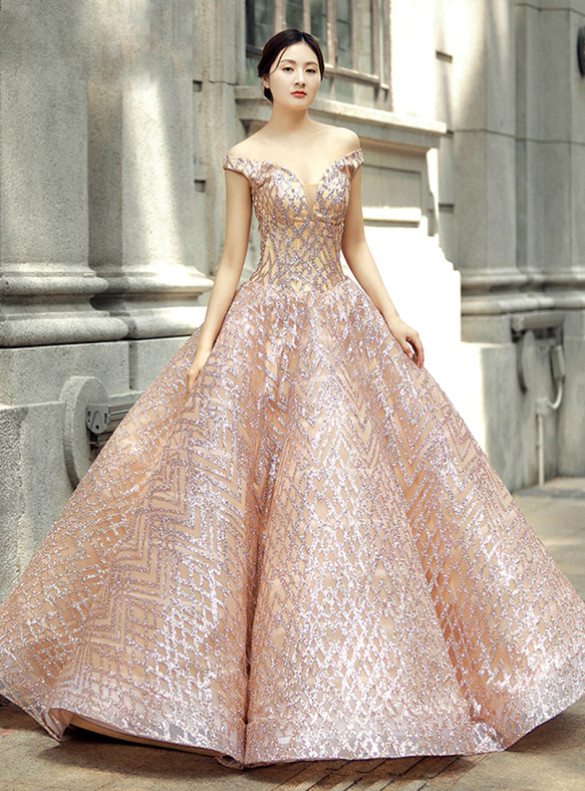 Pink Ball Gown Sequins Off the Shoulder Prom Dress