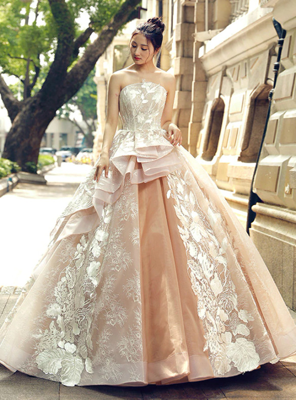 Champagne Tulle Strapless Appliques Prom Dress