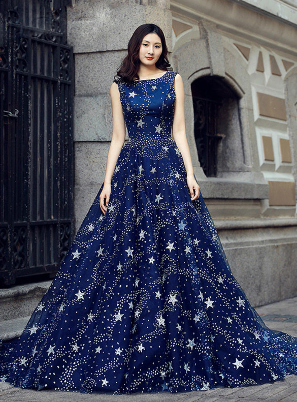 Blue Tulle Star Sequins Backless Prom Dress