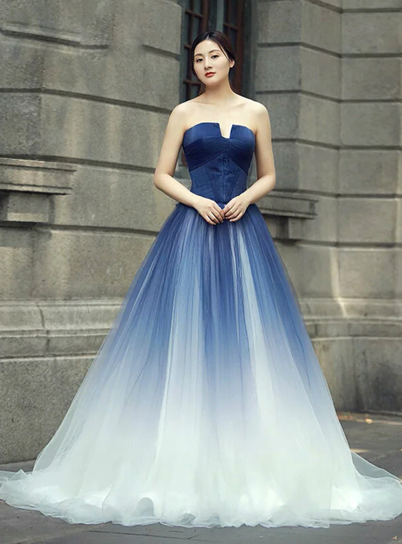 Blue Gradient Tulle Strapless Prom Dress
