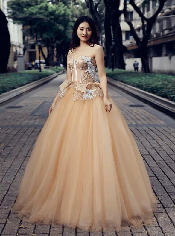 Champagne Tulle Corset Appliques Prom Dress