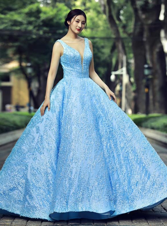 Light Blue Lace Illusion V-neck Sleeveless Prom Dress