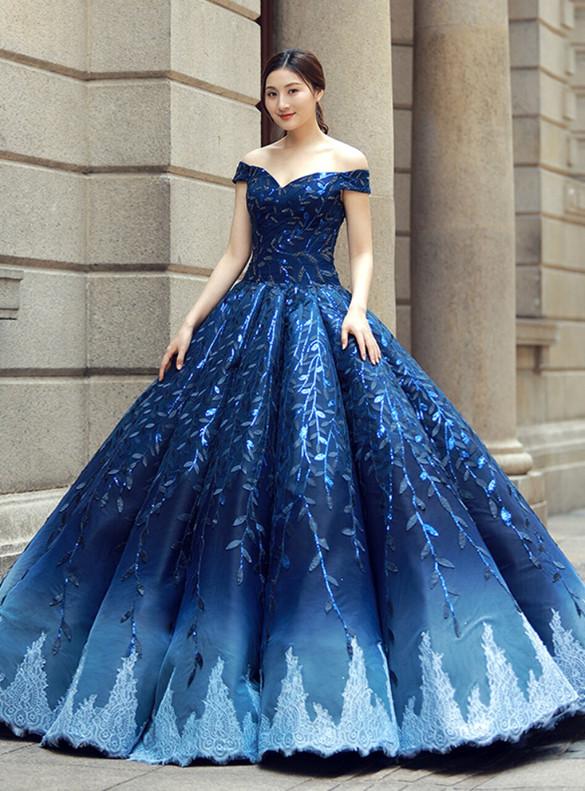 Blue Off the Shoulder Sequins Appliques Prom Dress