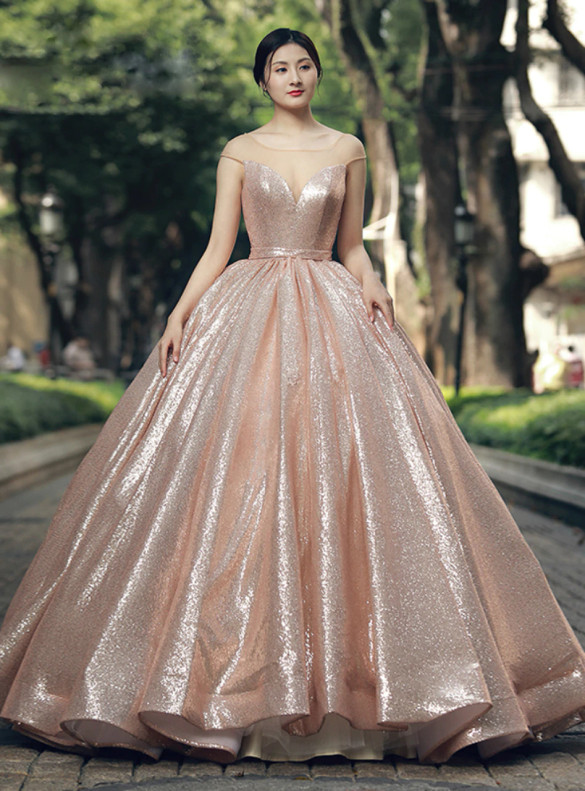 Pink Ball Gown Sequins Cap Sleeve illusion Neck Prom Dress