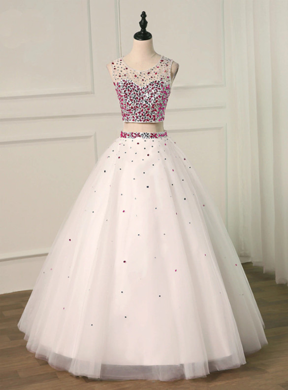 White Two Piece Crystal Backless Quinceanera Dress