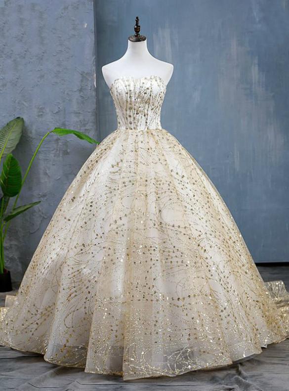Gold Ball Gown Sequins Strapless Quinceanera Dress