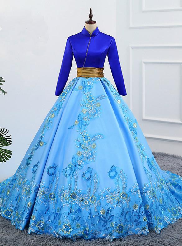 Blue Satin Appliques Long Sleeve High Neck Quinceanera Dress