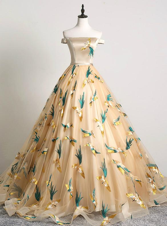 Gold Tulle Embroidert Birds Quinceanera Dress