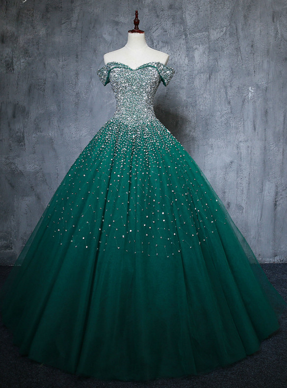 Green Tulle Beading Sequins Off the Shoulder Quinceanera Dress