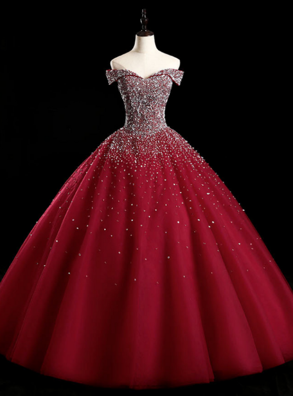 Burgundy Tulle Beading Sequins Quinceanera Dress