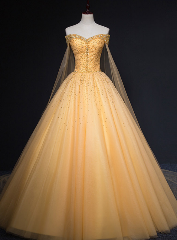 Gold Tulle Beading Off the Shoulder Quinceanera Dress