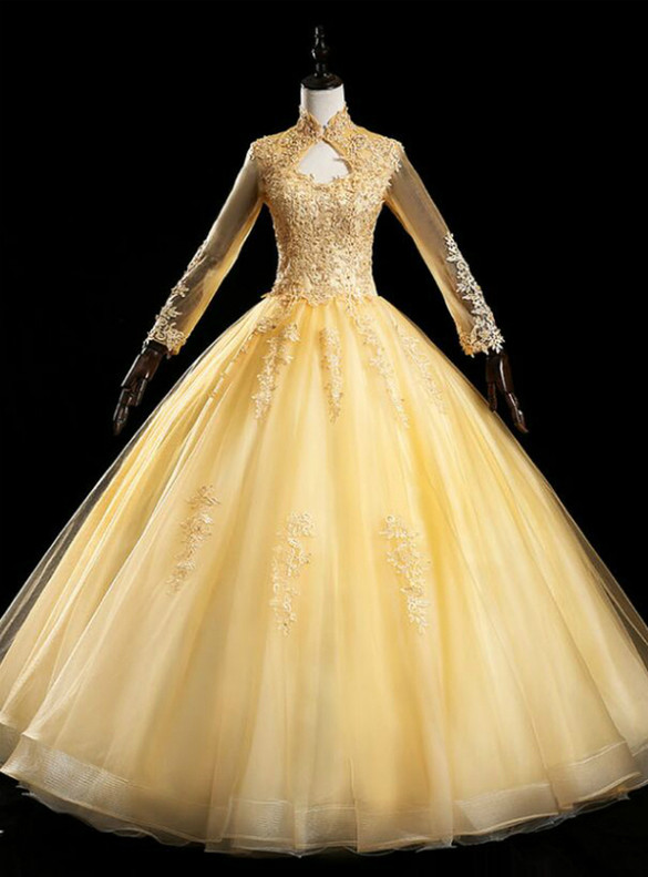 Gold Tulle Long Sleeve Appliques Beading Quinceanera Dress
