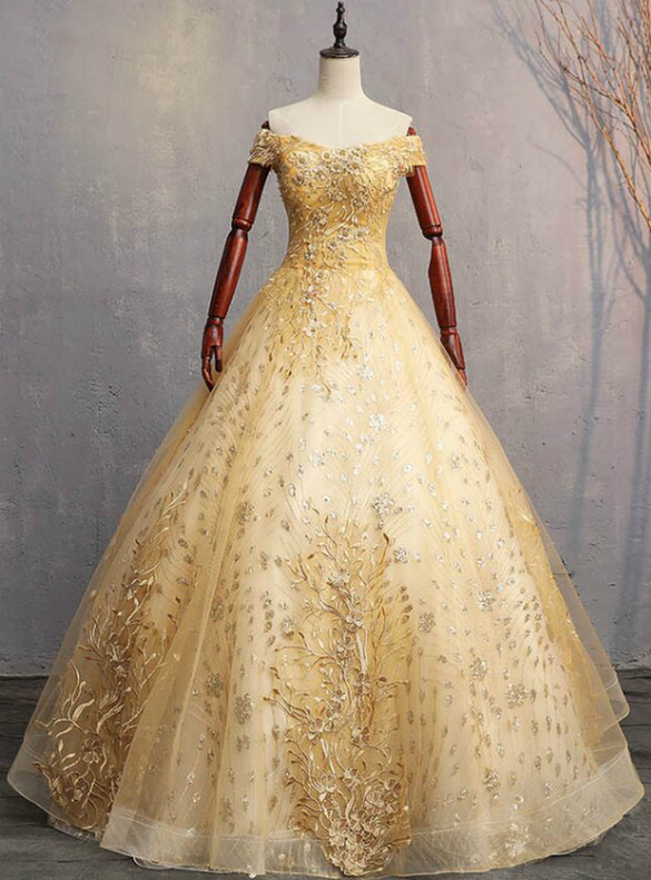 Gold Tulle Sequins Appliques Pearls Quinceanera Dress