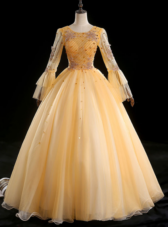 Gold Tulle Long Sleeve Beading Sequins Quinceanera Dress