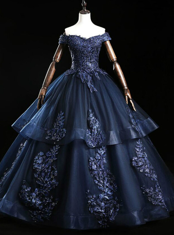 Navy Blue Tulle Appliques Beading Quinceanera Dress