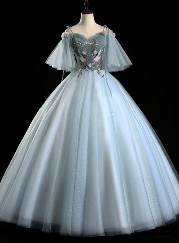 Blue Tulle Sequins Straps Appliques Pleats Quinceanera Dress