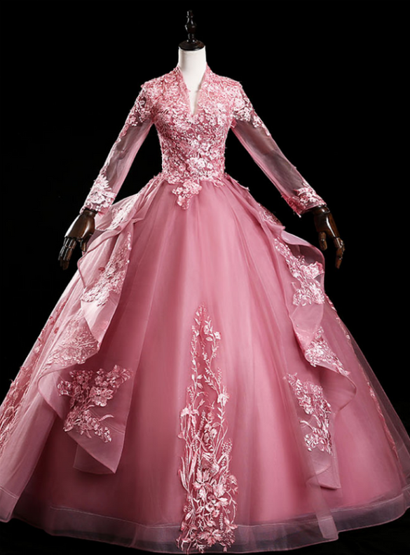 Pink Tulle Appliques V-neck Long Sleeve Quinceanera Dress