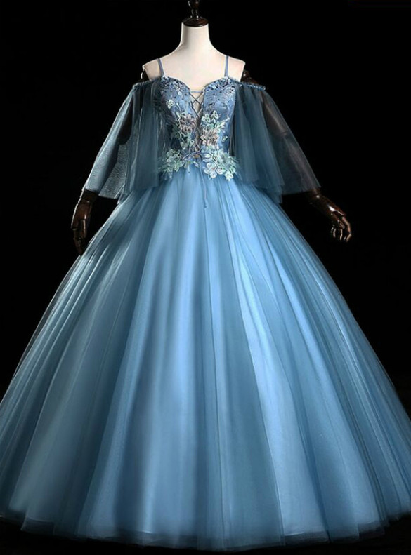 Blue Tulle Spaghetti Straps Appliques Quinceanera Dress
