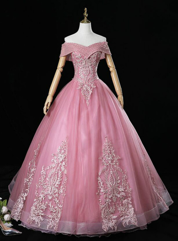 Pink Tulle Appliques Beading Off the Shoulder Quinceanera Dress