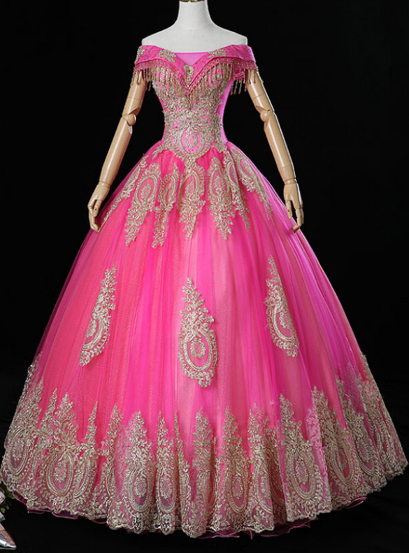 Fuchsia Tulle Off the Shoulder Appliques Beading Quinceanera Dress